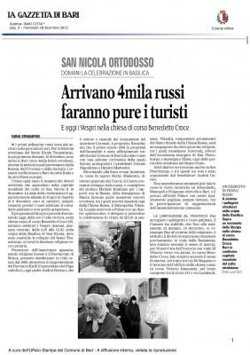 San Nicola Ortodosso - Arrivano 4mila Russi - Articolo Gazzetta di Bari del 2013